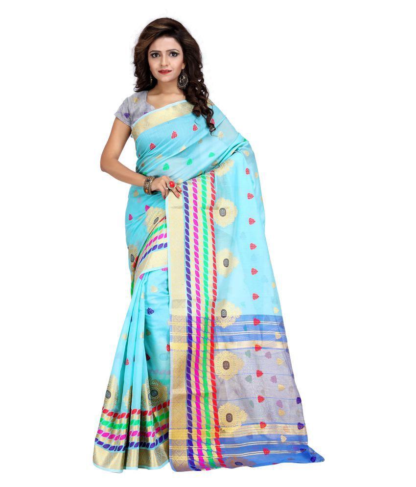 Just Fashion Blue Chanderi Saree