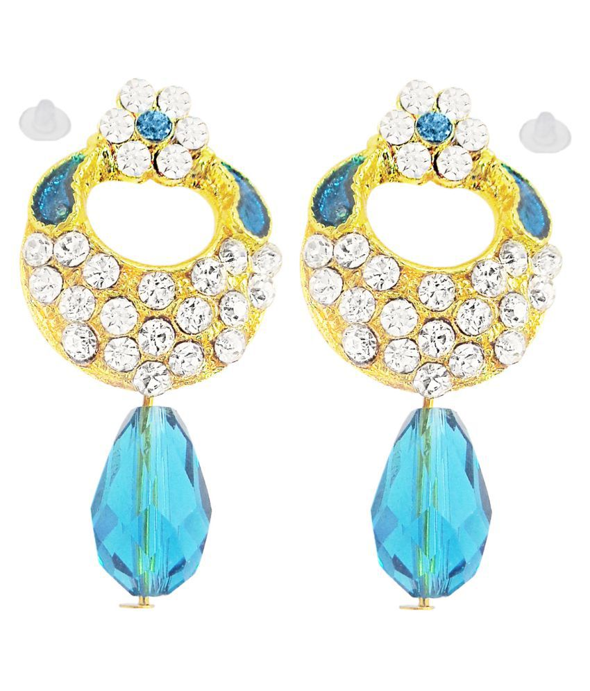 Slks India Craft-New Bollywood Designer and Anniversary or Partywear Sky Earrings