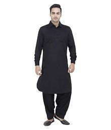 Arzaan Creation's Black Linen Pathani Suit