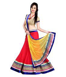 M G Enterprise Red Net Semi Stitched Lehenga