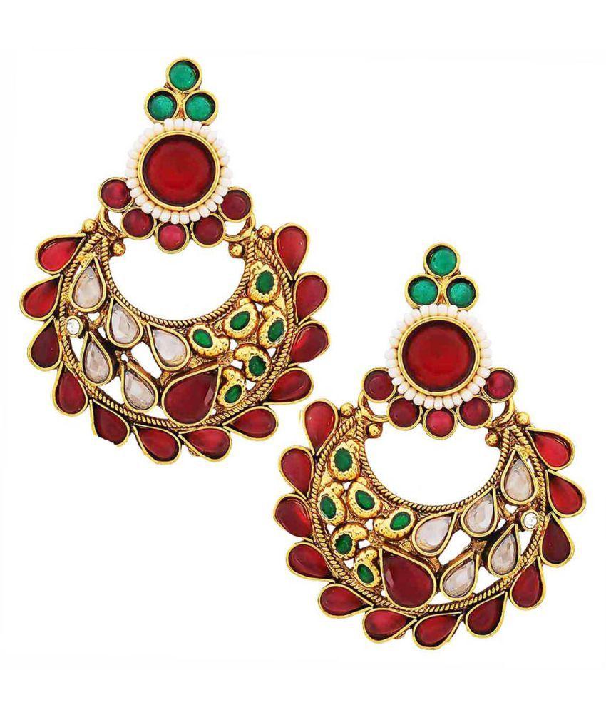 Maayra Women Earrings Wedding Copper Chand Bali Maroon Green Kundan Classic
