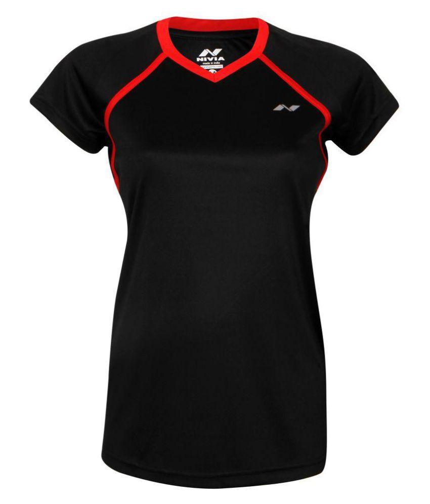 Nivia Polyester Black T-Shirts
