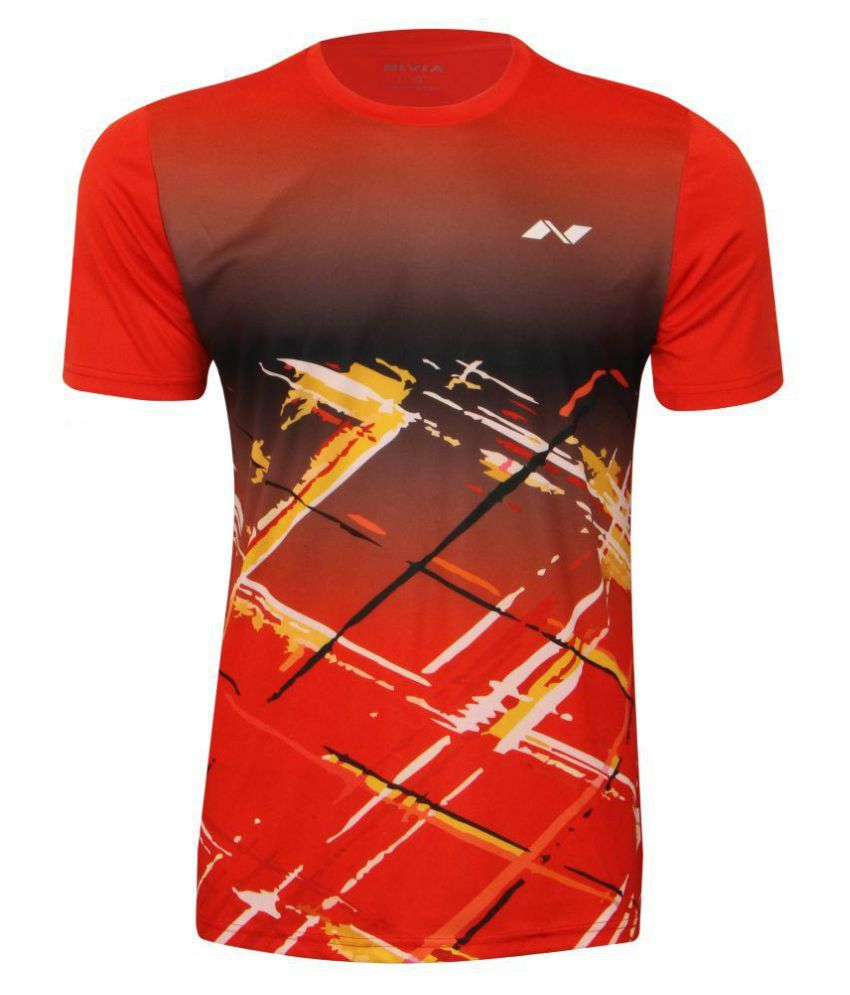 Nivia Red Polyester T-Shirt