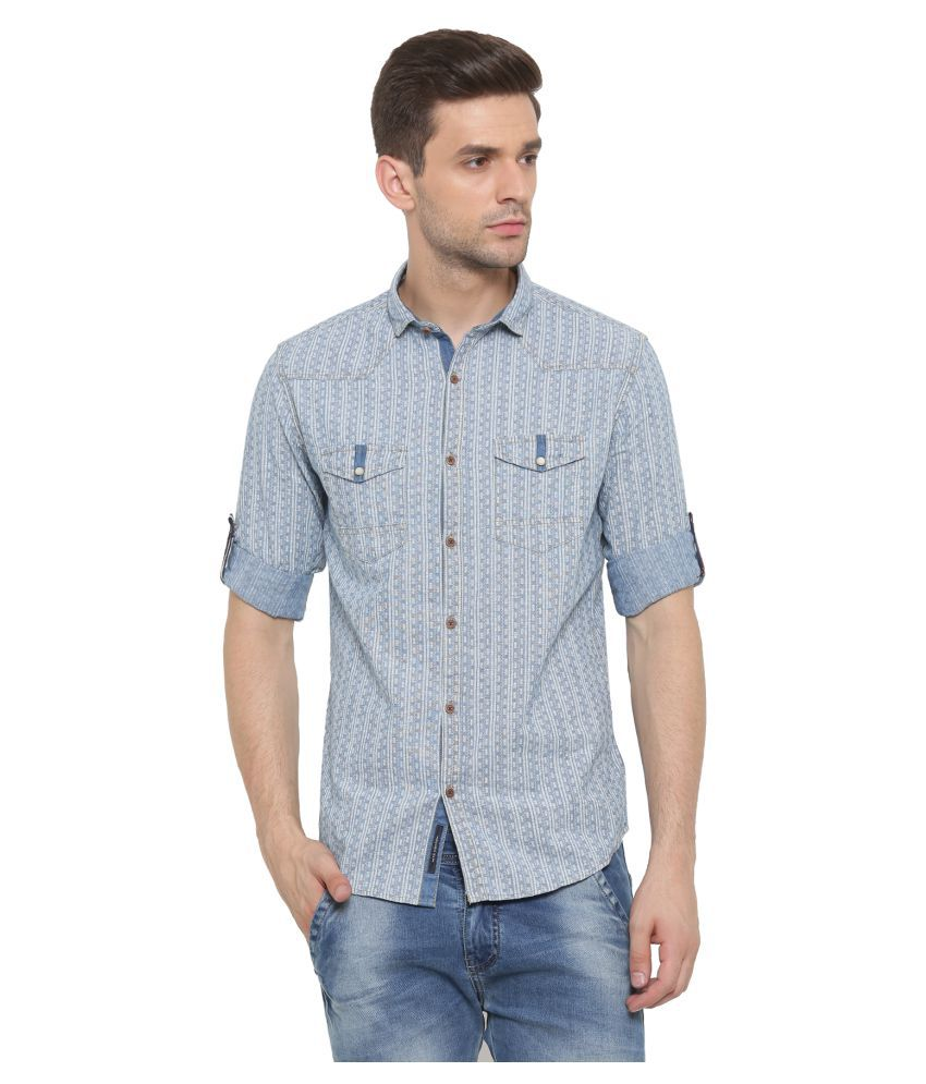 WITH Blue Casual Slim Fit Shirt
