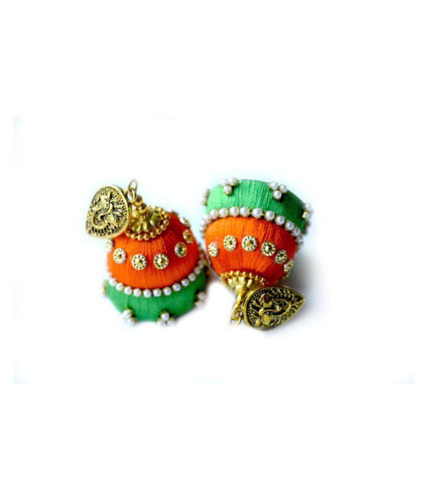 DarkLady's Silk Thread Jhumka-Drop Earring(Green & Orange Combination) Glossy Finish  Bead Work For Women & Girls