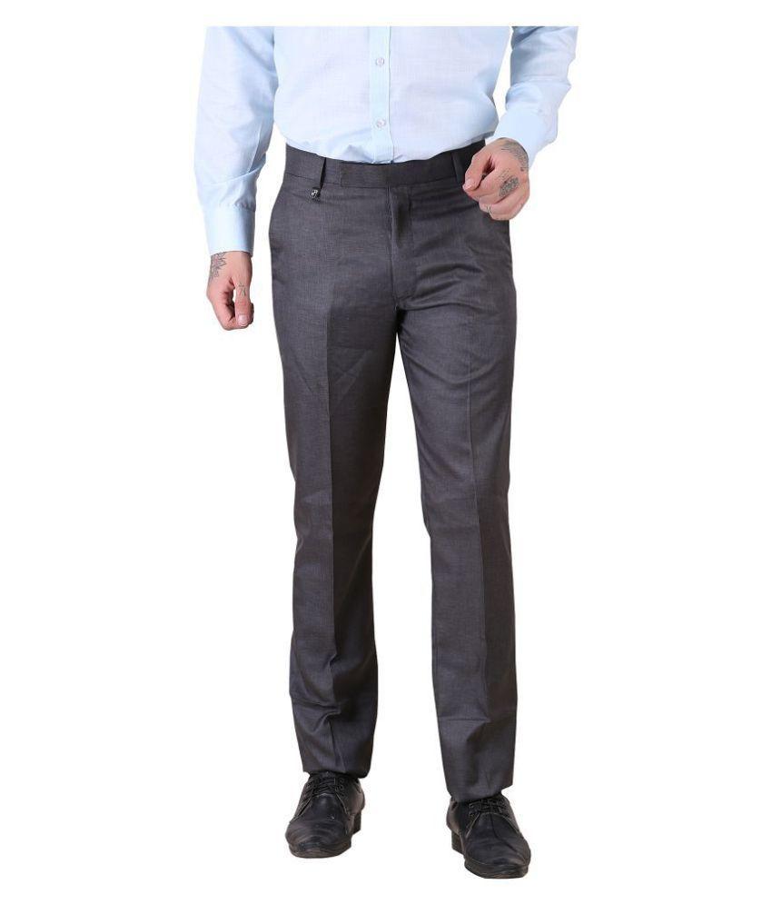 Lee Cox Grey Slim -Fit Flat Trousers