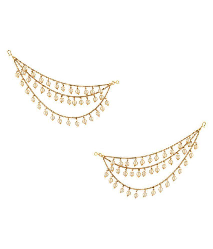 Anuradha Art Golden Finish Classy Pearl Bead Style Beautiful Traditional Look Kan Chain/ Ear-Chain For Women Girls
