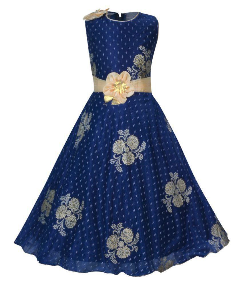 9b8925646236 KBKIDSWEAR Girl s Self Design Party Wear Premium Net Gown - Buy ...