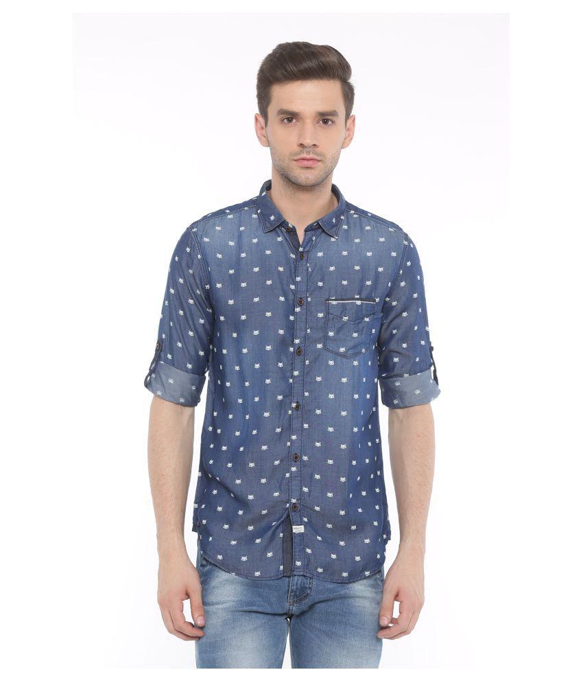 SHOWOFF Blue Casual Slim Fit Shirt