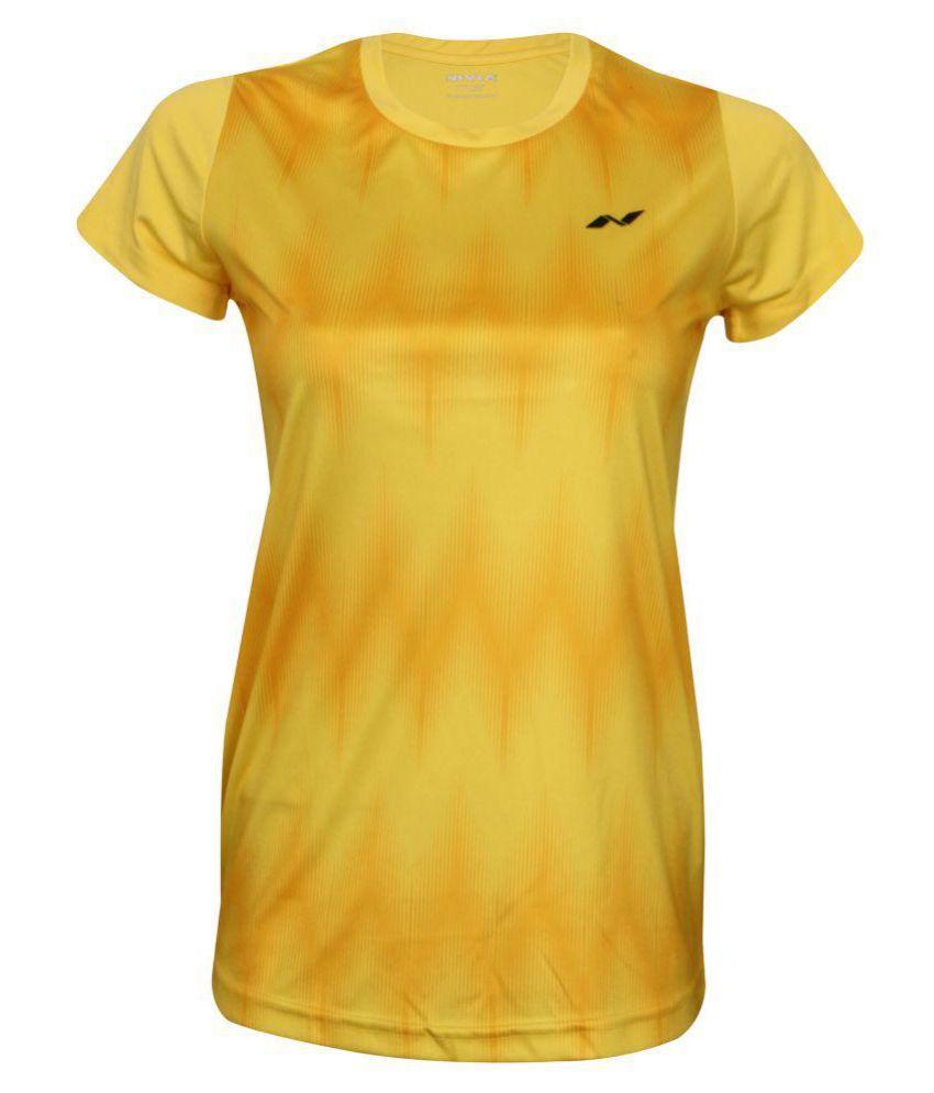 Nivia Polyester Yellow T-Shirts