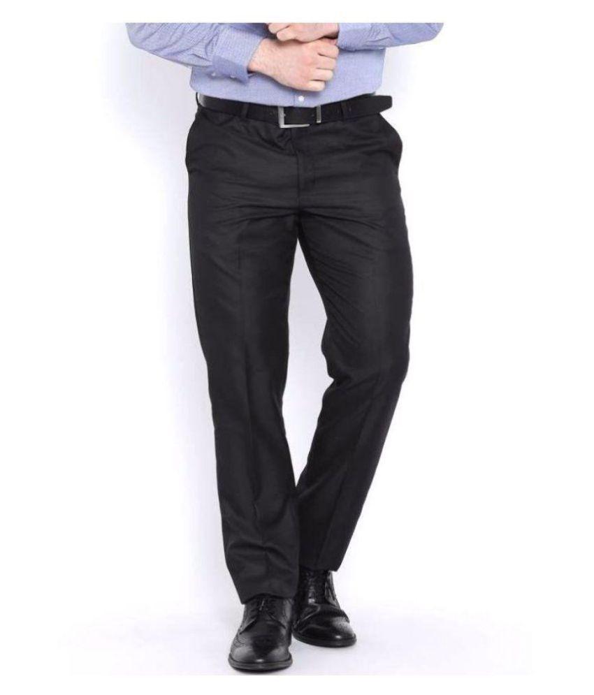 BLACKBERRYS Black Slim -Fit Flat Trousers