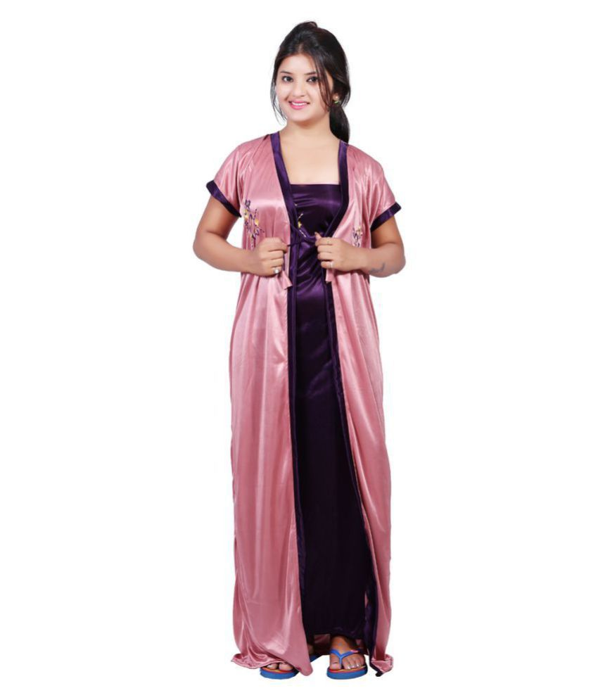 cee5258713d Buy MAHAARANI Satin Nighty   Night Gowns - Purple Online at Best ...