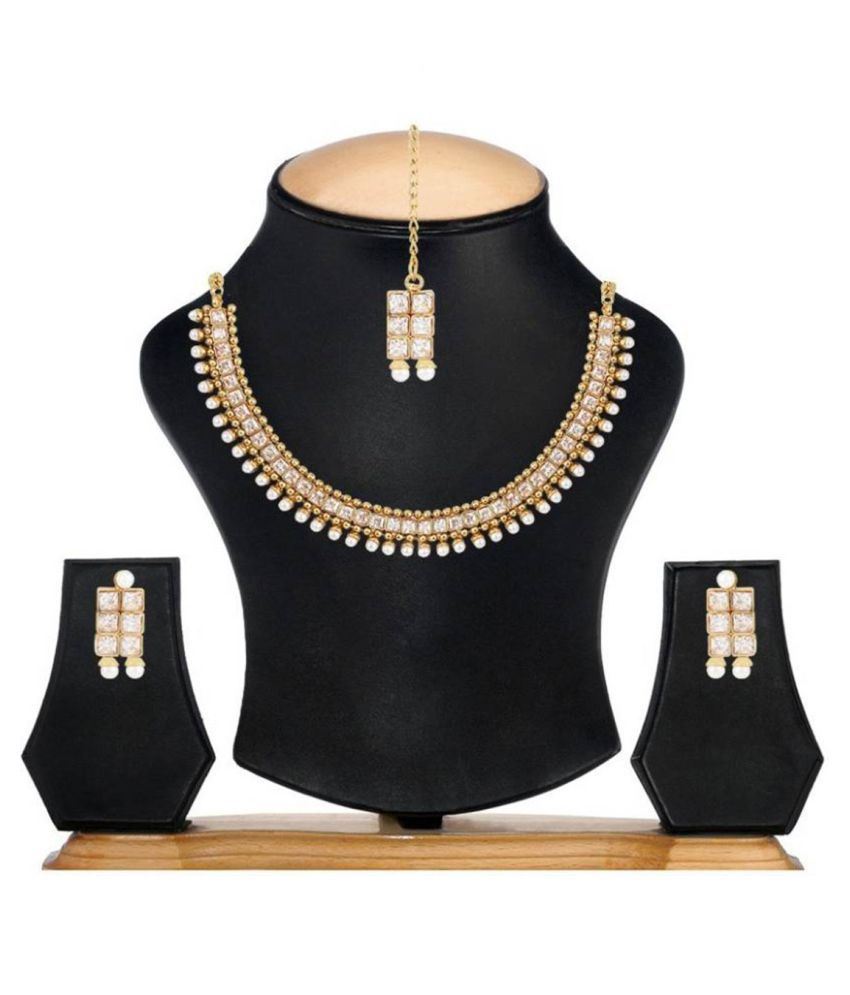 Bandish Gold toned White LCD Crystal Jewellery Set with Mang Tika