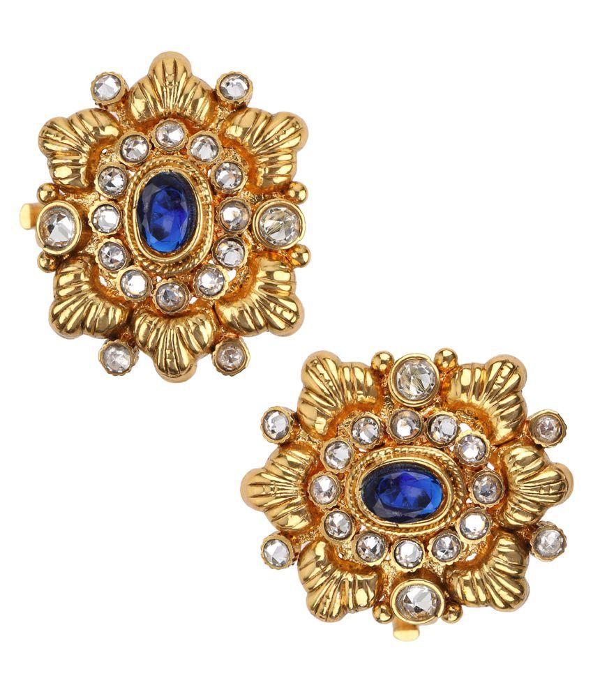 Adiva Bichiya Metti Blue Copper Adjustable Leg Jewellery Toe Ring for Women