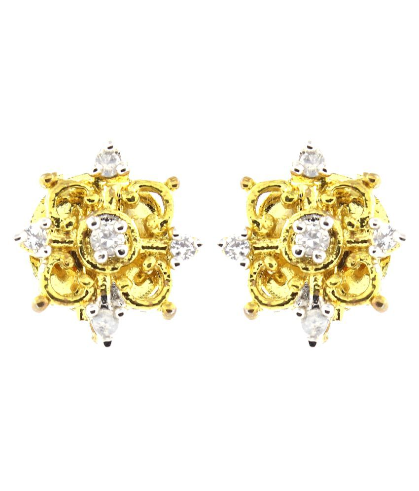 Be You Amazing White Color Cubic Zircon Real Look Rhodium Plated Brass Stud Earrings for Women