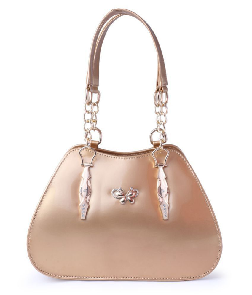 Levise London Golden Artificial Leather Shoulder Bag