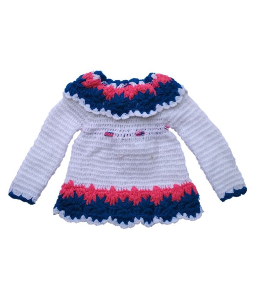 aba966d4b Woolen handmade Frock Sweater for 6-12 months baby girl color white ...