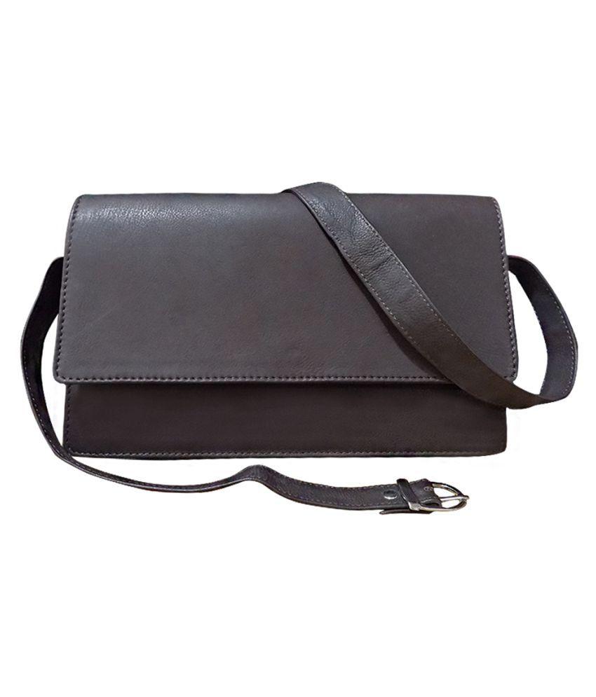 Kan Brown Pure Leather Shoulder Bag