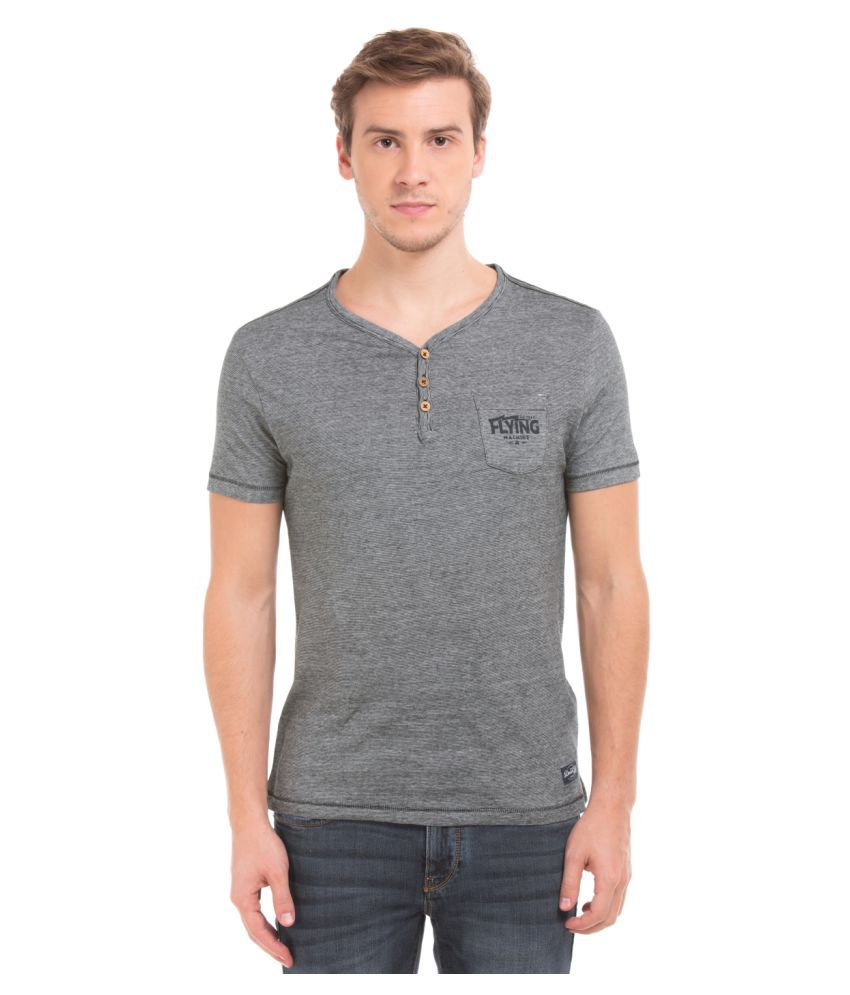 Flying Machine Grey Henley T-Shirt