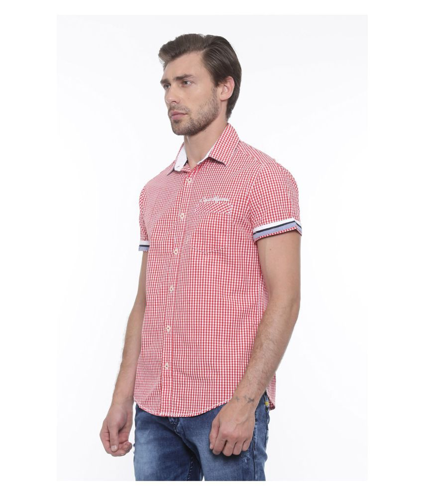 Showoff Red Casual Slim Fit Shirt