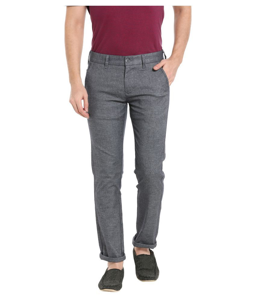 KILLER Grey Slim -Fit Flat Trousers