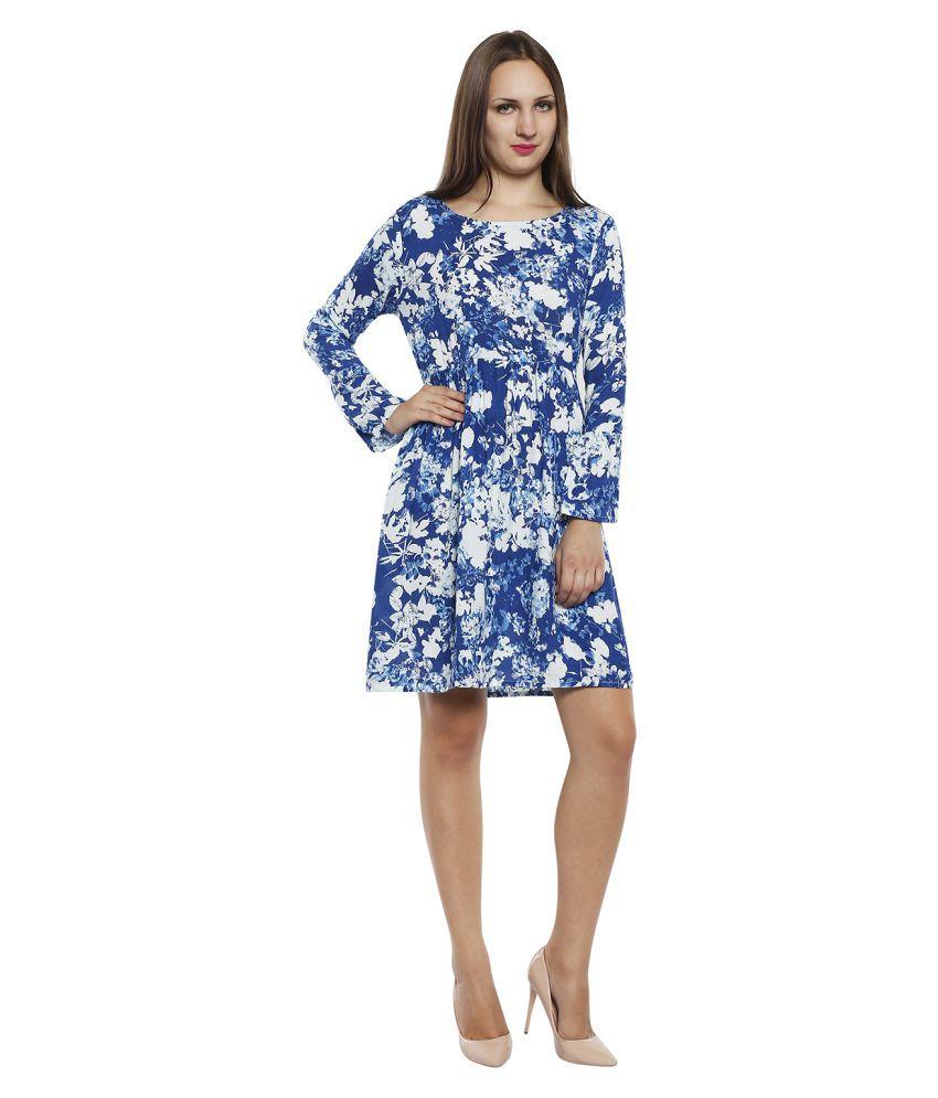 TuffStars Rayon Blue A- line Dress