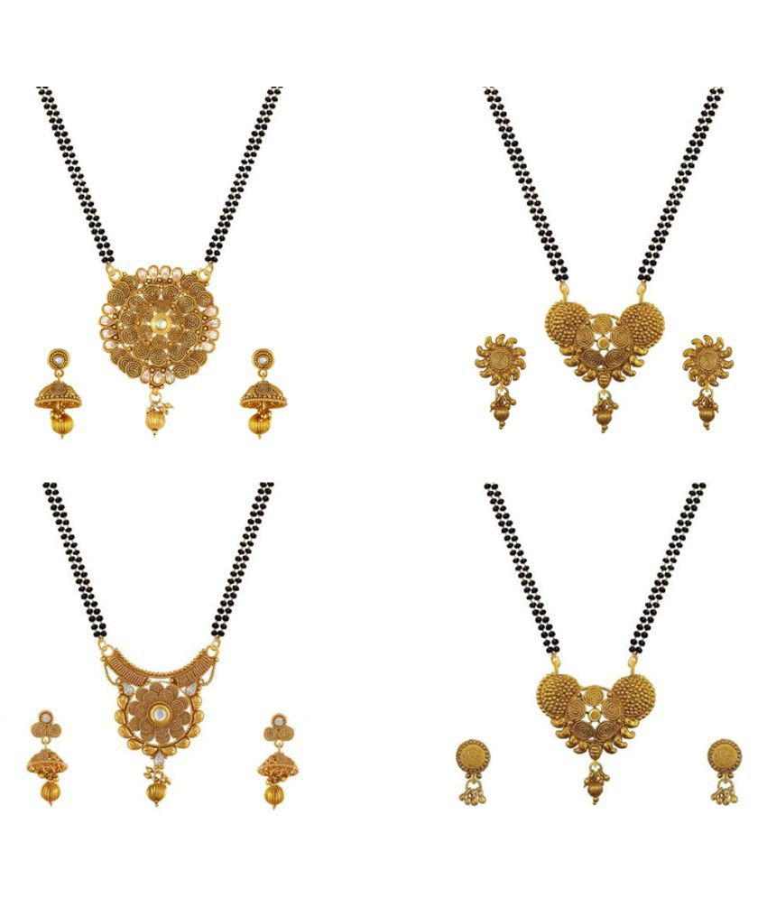Aabhu Fashionable Combo of 4 Mangalsutra with Earrings Pair Jewellery Set for Women