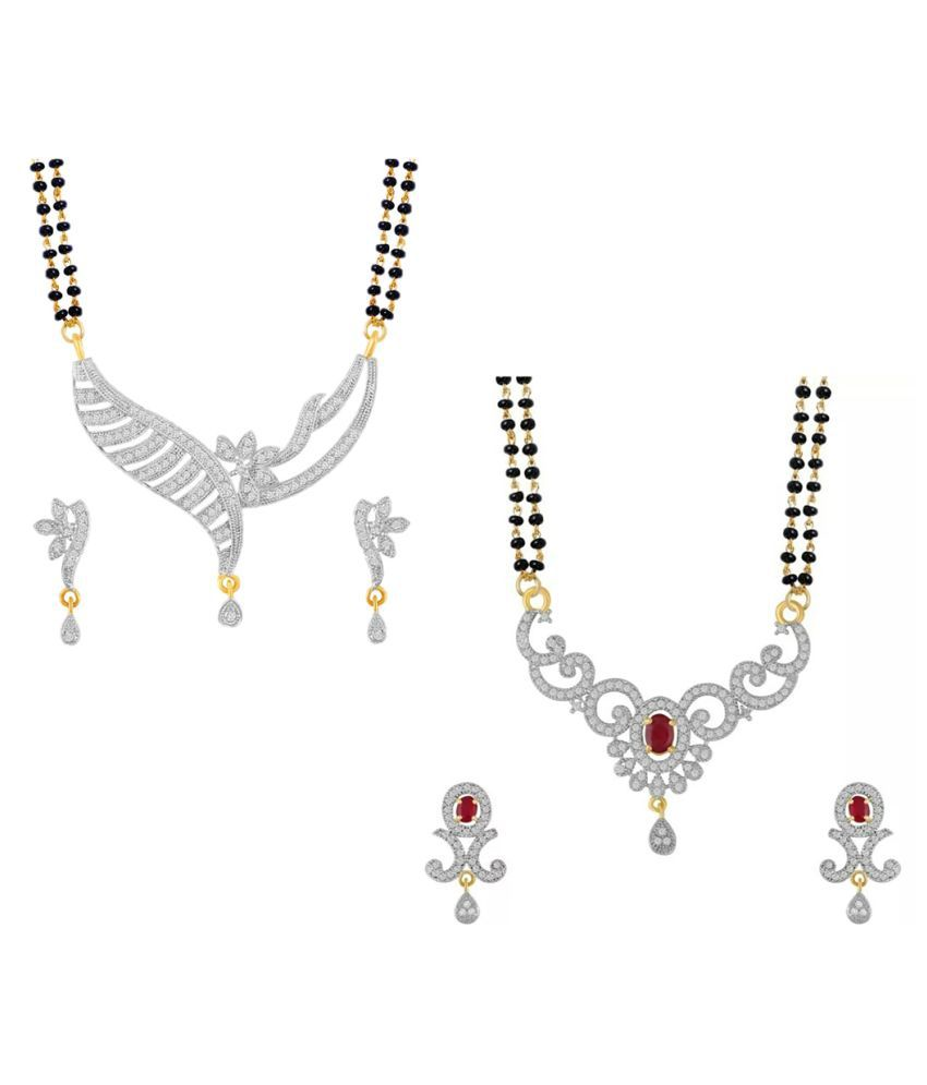Aabhu Popular Combo of 2 Mangalsutra with Earrings Pair Jewellery Set for Women