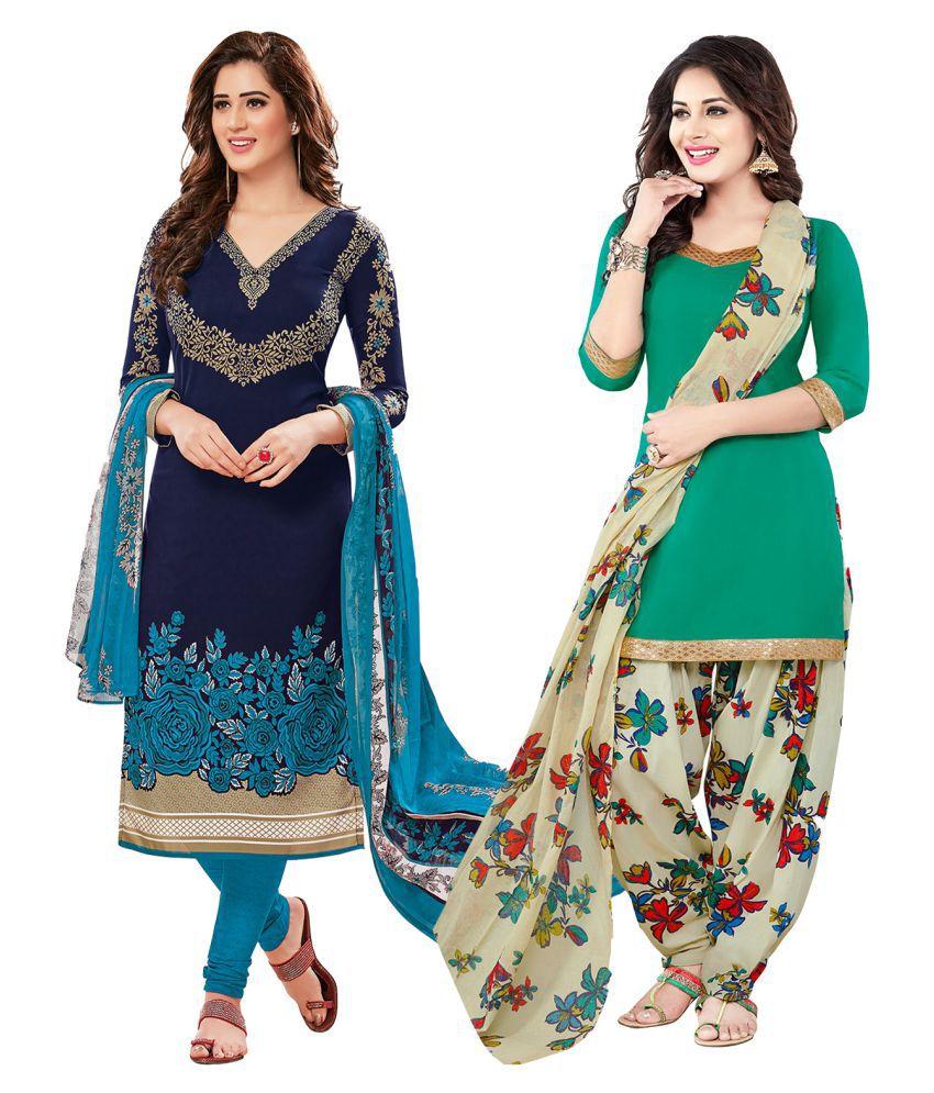 Ishin Multicoloured Synthetic Dress Material