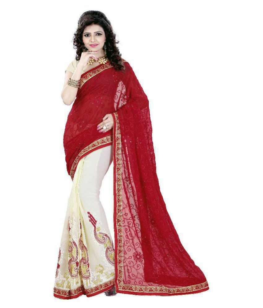 ARSH IMPEX White and Red Georgette Saree