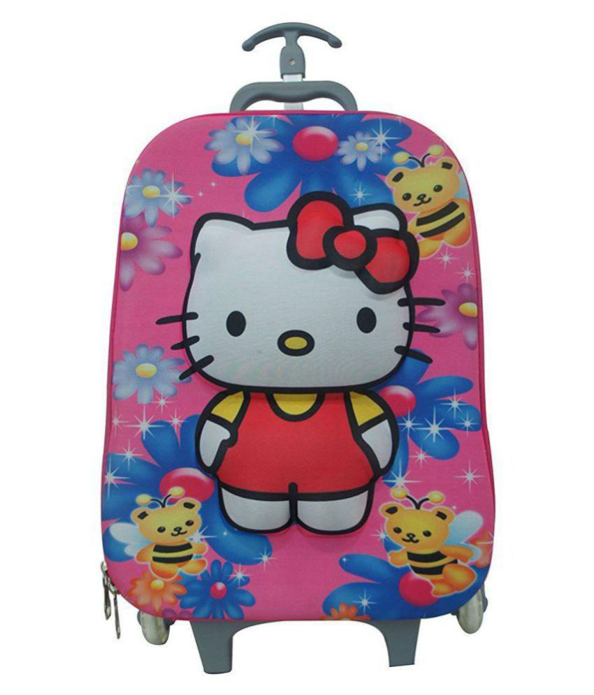 Hello Kitty 3D Embossed Print 3 In 1 Hardshell Travel Trolley Suitcase Luggage Bag With Lunch Box And Pencil Box In A Set For Kids With 6 Wheels