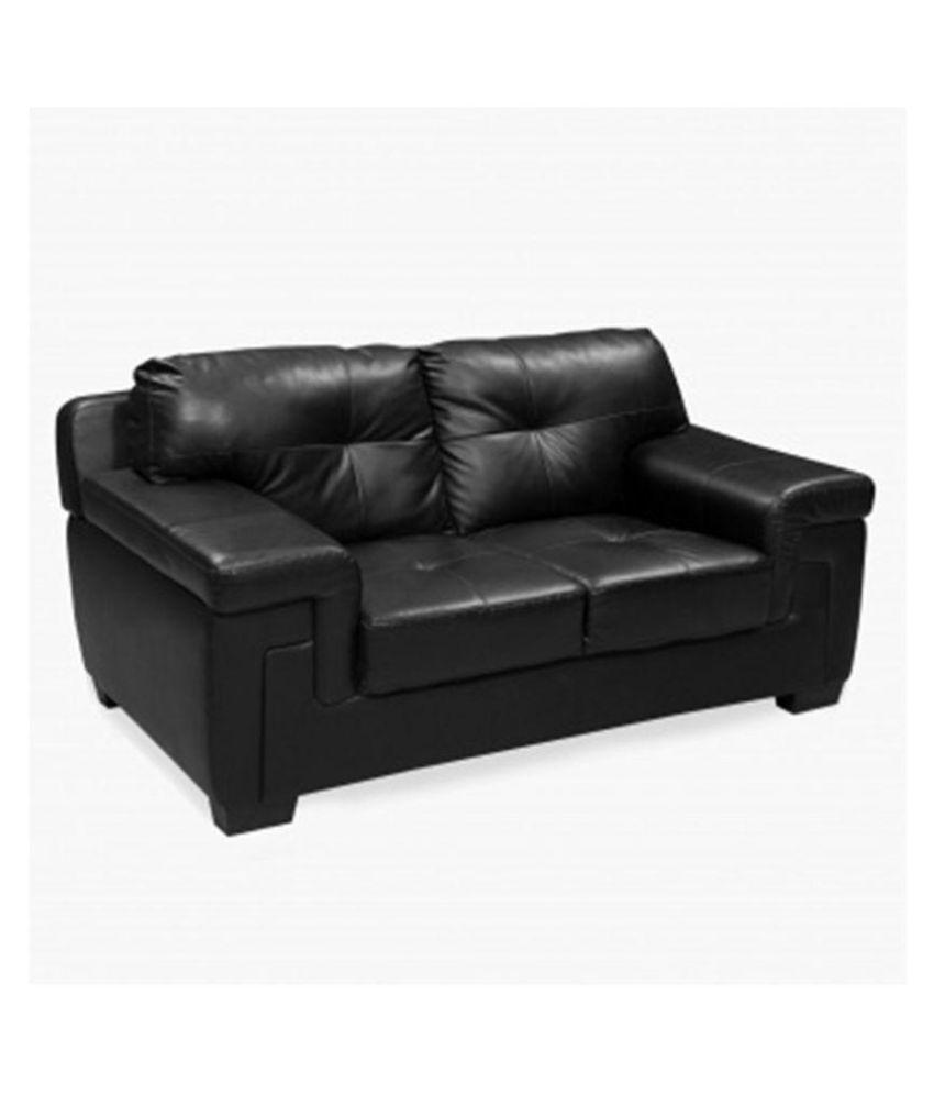E Interior Black Faux Leather 2 Seater Sofa