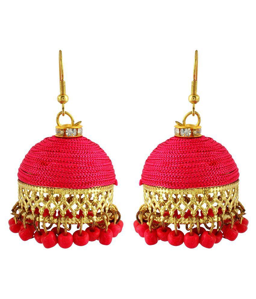 Fashion Fuzion Metal Magenta Jhumki Earrings for Women