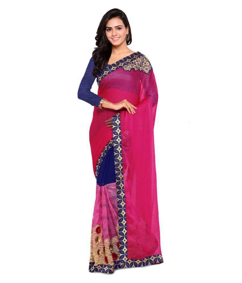 Saree Mall Pink Georgette Saree