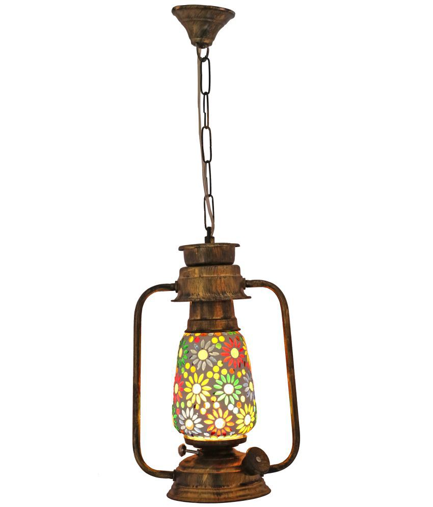 Somil Antique Hanging Lantern Lamp Light With Colorful Glass Perfect Match Of Trading And Traditional A1 Hanging Lanterns 61 - Pack of 1