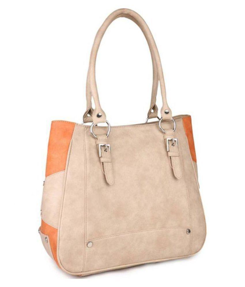 TECHNUV Beige Faux Leather Shoulder Bag
