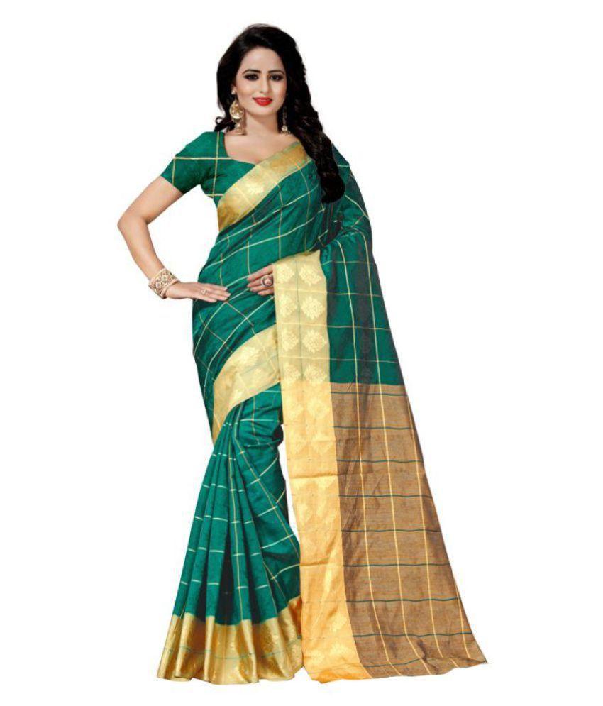 Fabdiwa Fashion Green Cotton Silk Saree