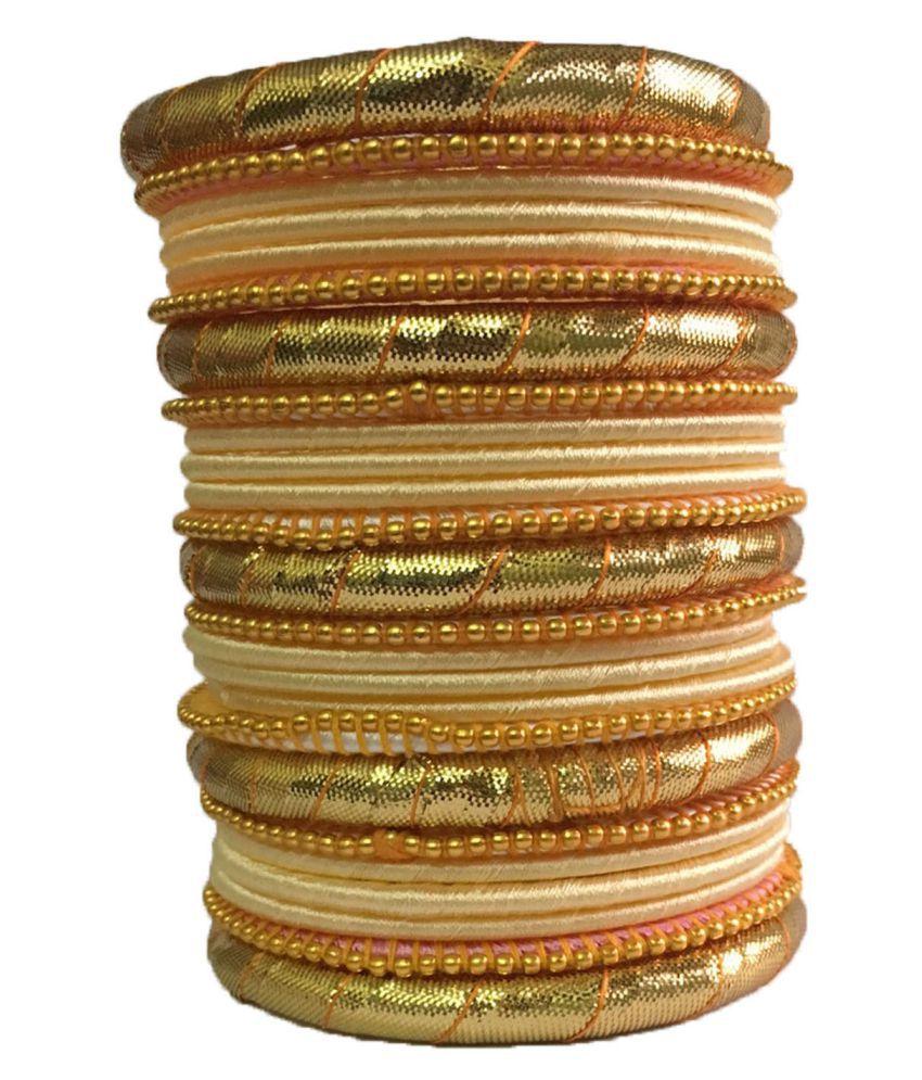 Handmade Elegent Silk Dori Plastic Bangles Set