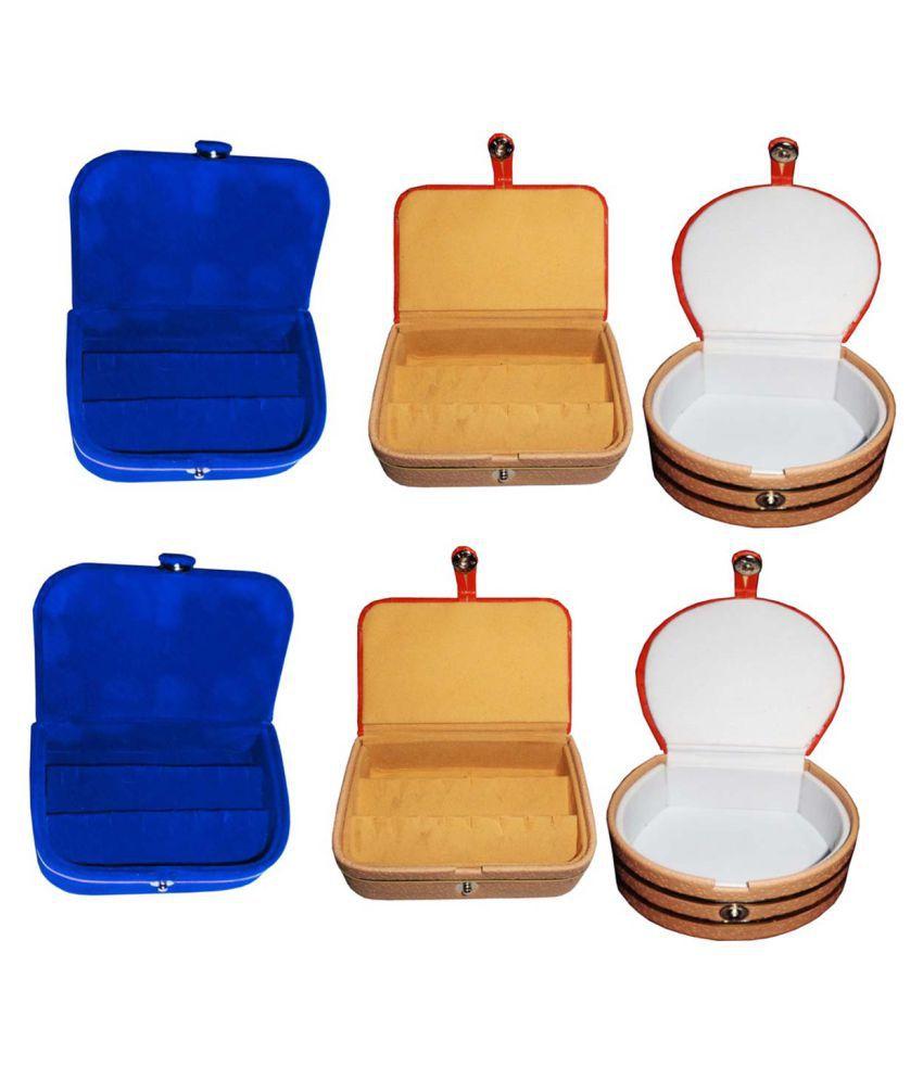 Afrose Combo 2 pc blue earring box 2 pc ear ring folder 2 pc bangle box jewelry vanity case