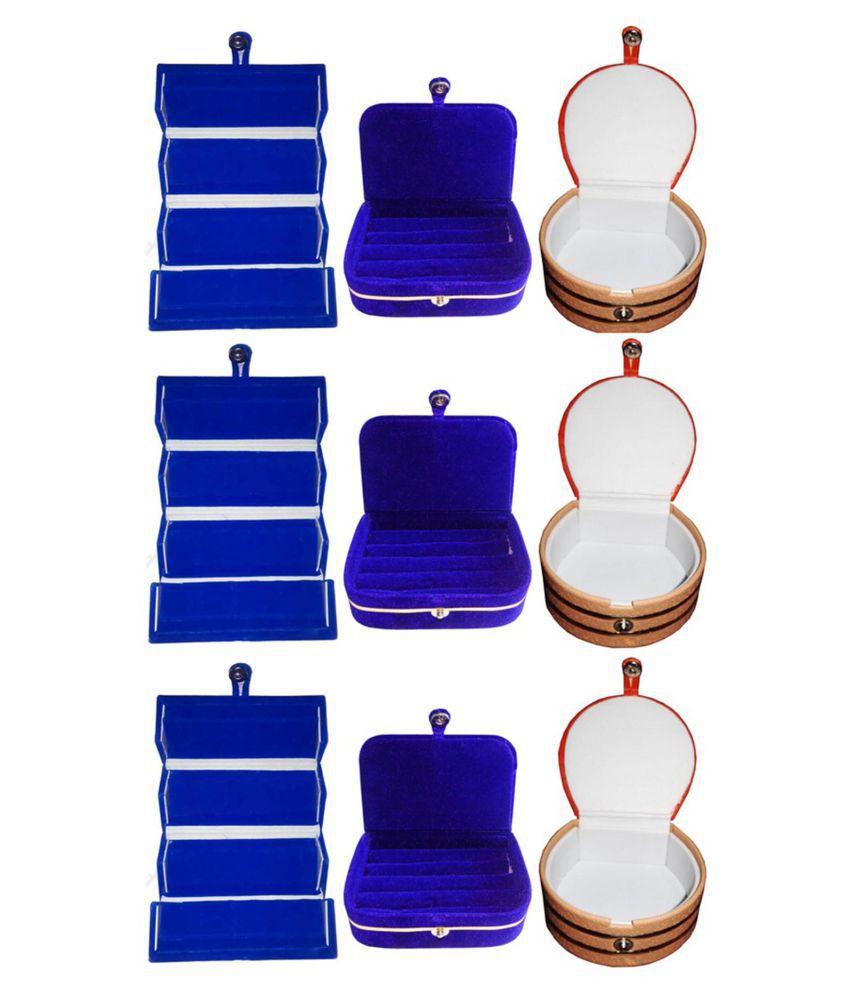 Sabita Combo 3 pc blue earring folder  3 blue ear ring box and 3 pc bangle box jewelry vanity case
