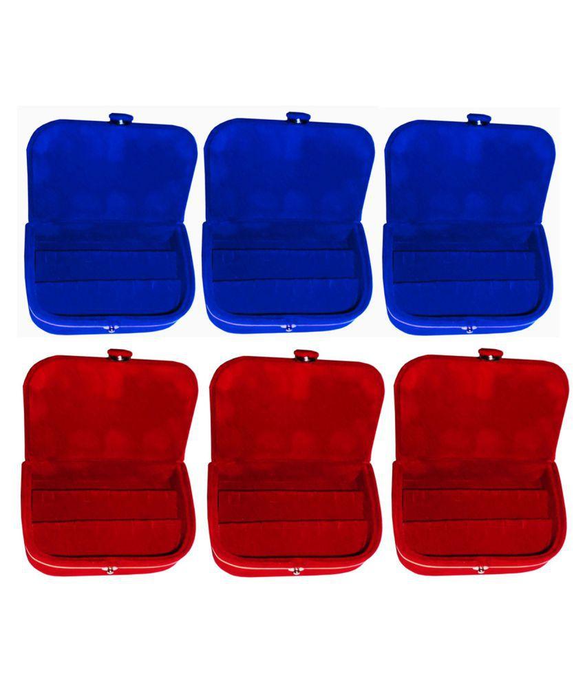 Sabita Combo 3 pc red earring box and 3 pc blue ear ring folder vanity case