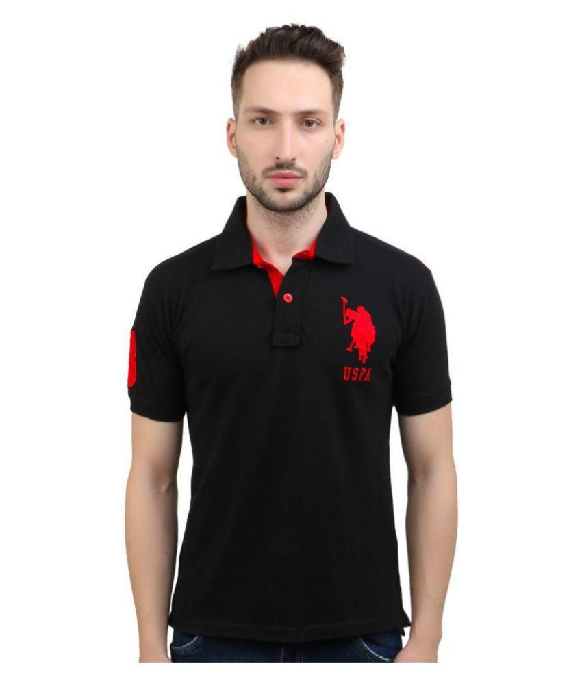 ac2d786f U.S. Polo Assn. Black Regular Fit Polo T Shirt - Buy U.S. Polo Assn. Black  Regular Fit Polo T Shirt Online at Low Price - Snapdeal.com