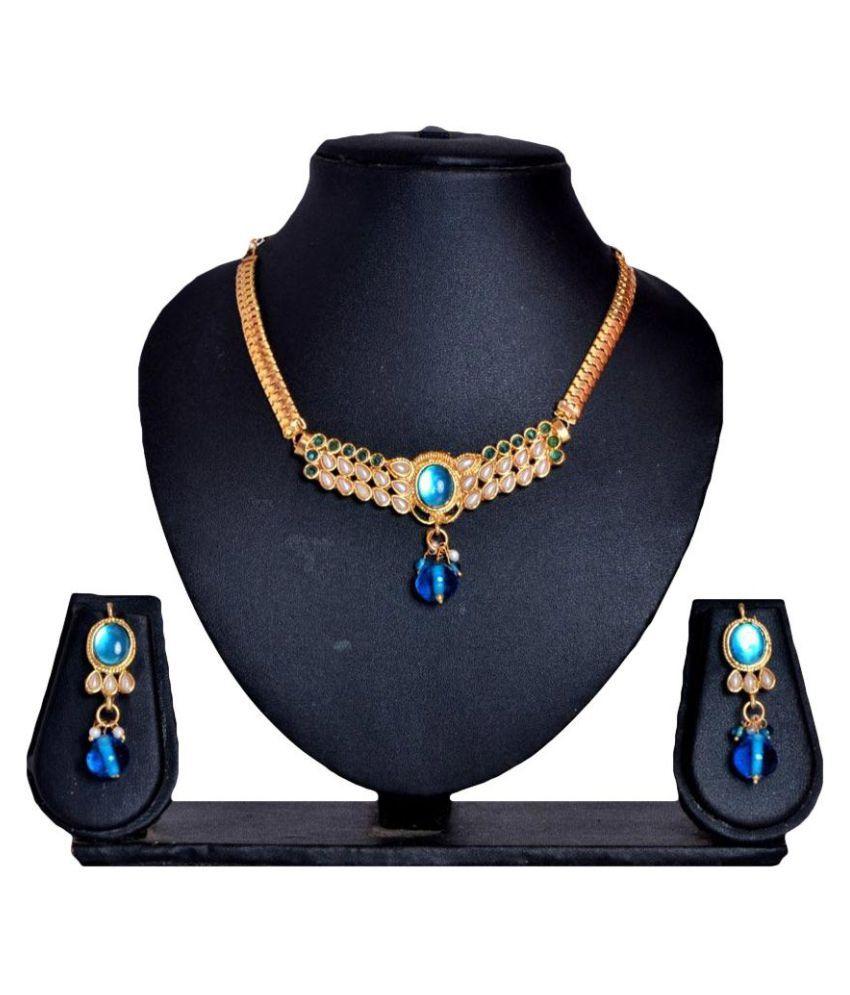 Payal Designs Blue Alloy Necklace Set