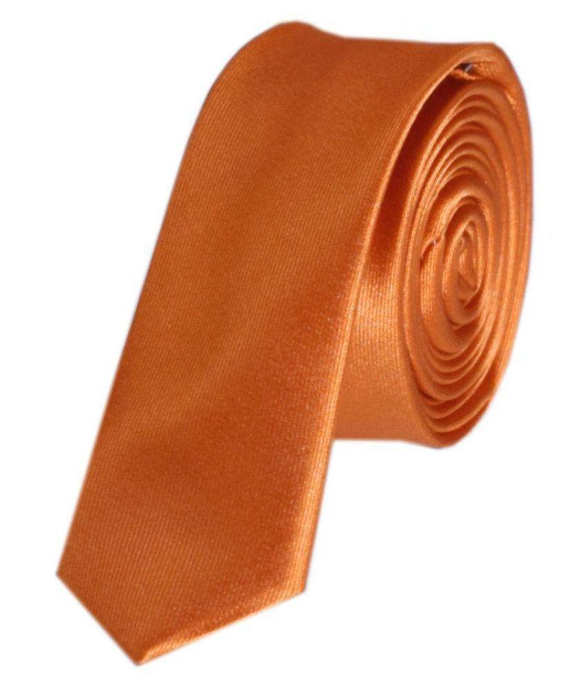 Navaksha Orange Plain Micro Fiber Necktie