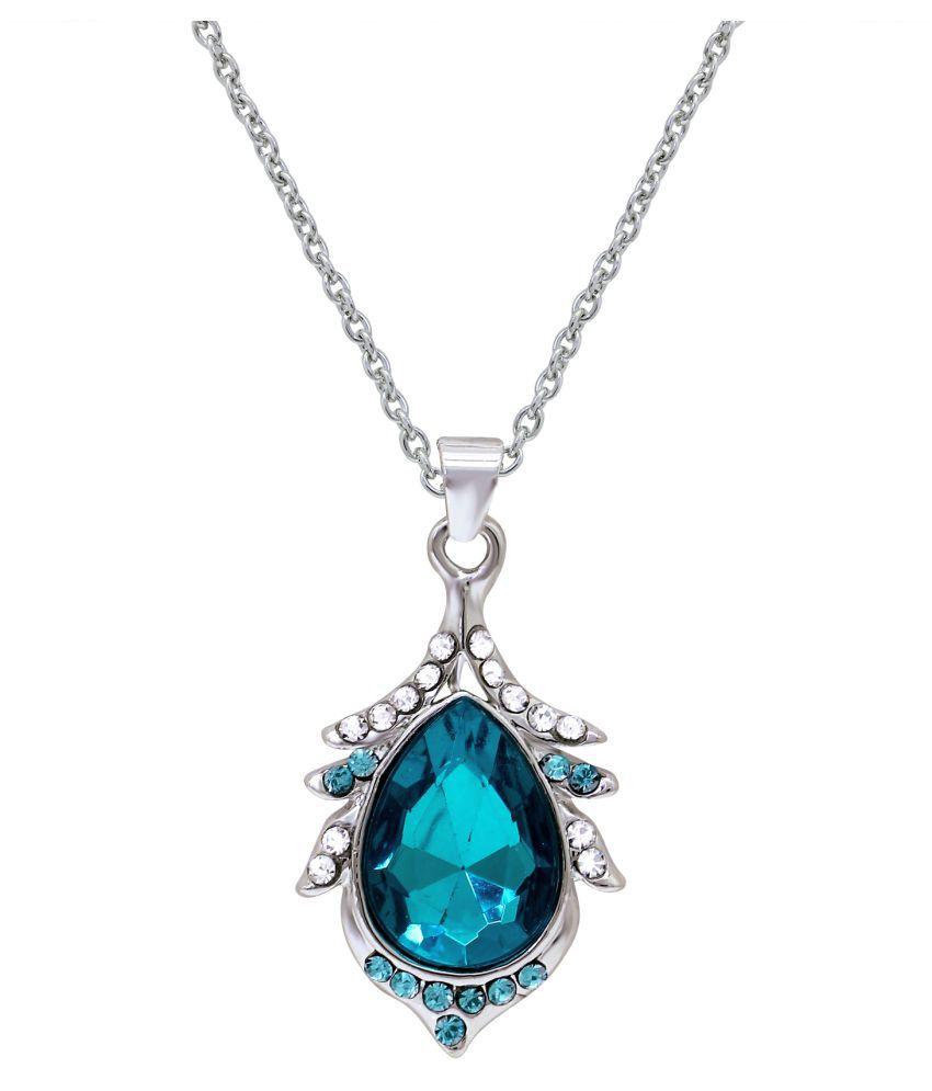 Oviya rhodium plated blue crystal teardrop pendant with chain oviya rhodium plated blue crystal teardrop pendant with chain ps2101608rblu mozeypictures Images