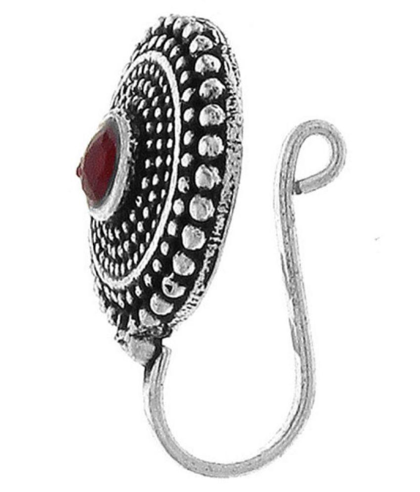 870ff6ae78b ... Anuradah Art Silver Oxide Finish Round Shape Designer Classy Wonderful  Clip-On Nose Ring