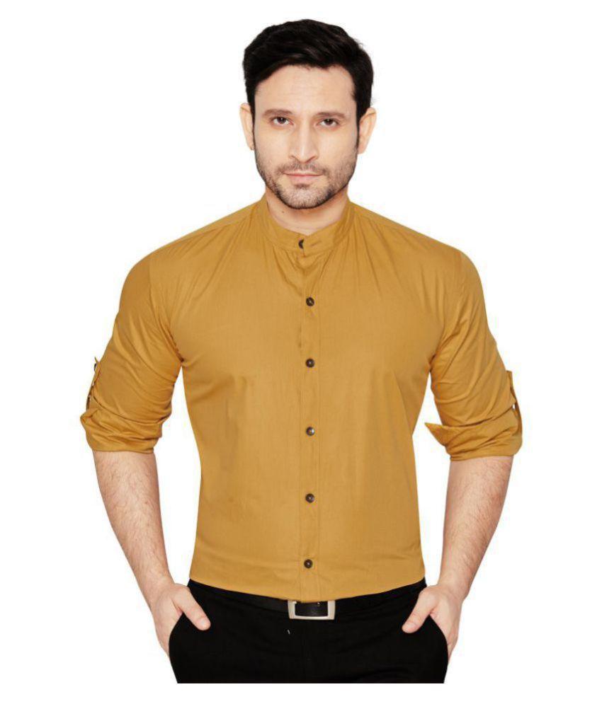 Globalrang 100 Percent Cotton Beige Solids Shirt