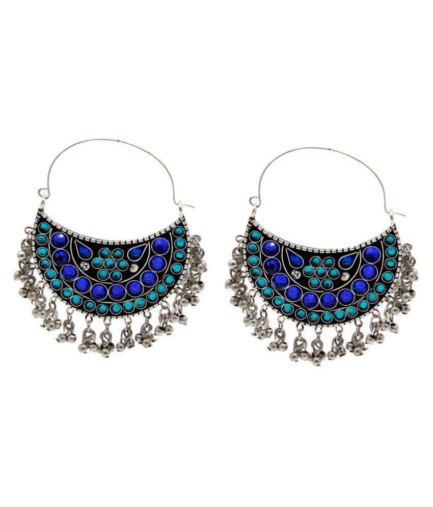 Mali Fionna Stone Pearl Studed Afghani Meenakari Earrings