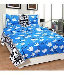 DURGA CREATION Cotton Double Bedsheet with 2 Pillow Covers