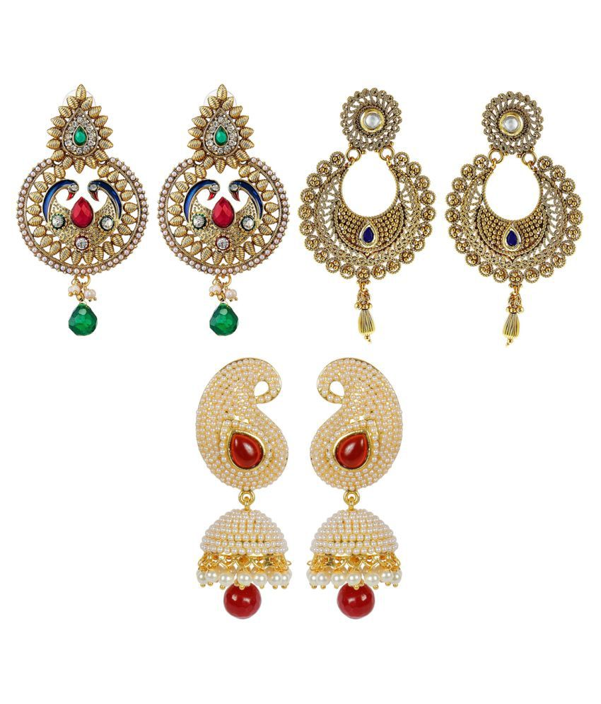 Aabhu Fashion Jewellery Gold Plated Glamorous Fancy Party Wear Regular Jhumka Jhumki Combo of 3 Pairs Earrings For Women And Girl